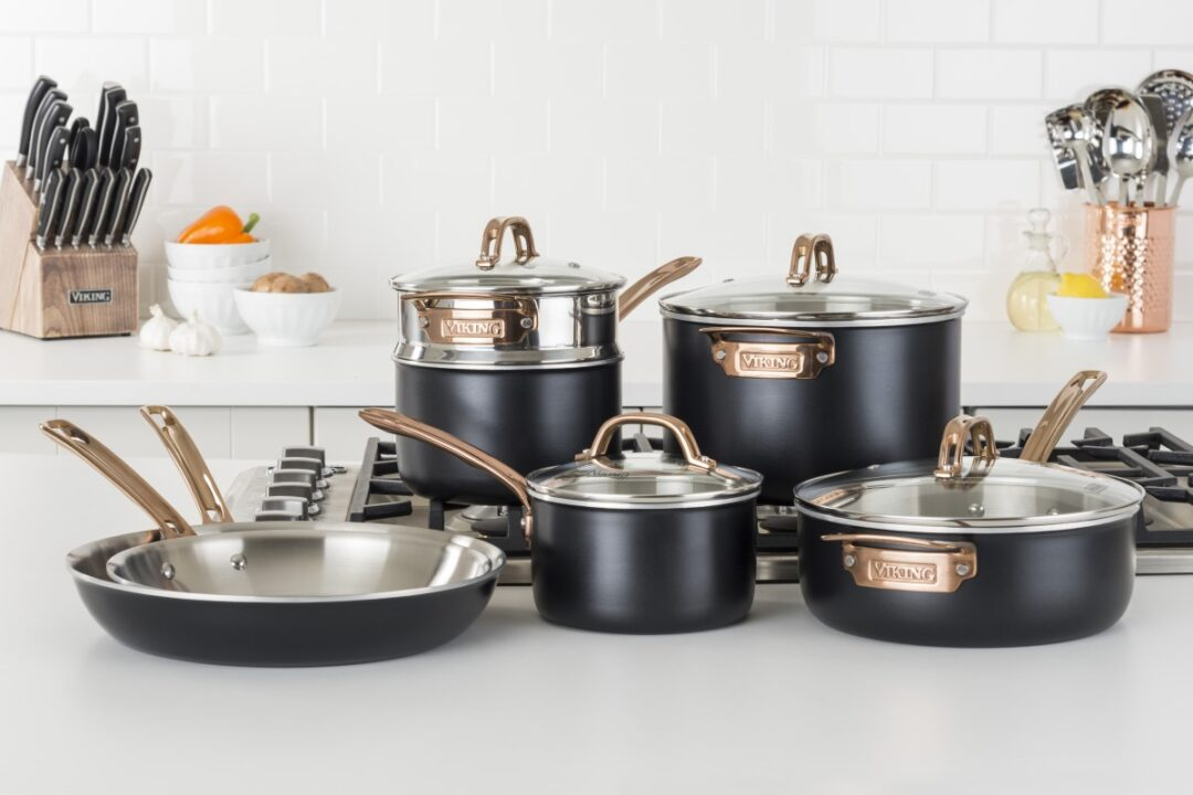 Viking Matte Black and Copper 3-Ply Stainless Steel 11-Piece Cookware Set