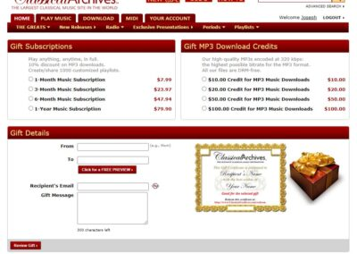 Classical Archives Gift Certificate