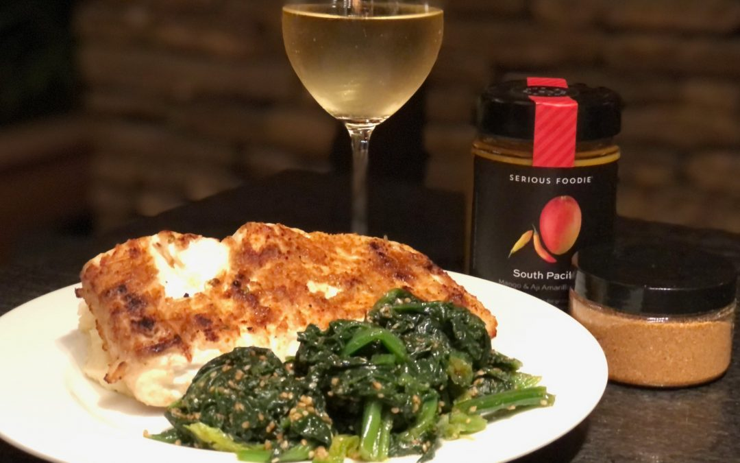 Filipino Spice-Rubbed Grilled Halibut and Sesame Seed Spinach